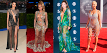 """<p>Celebrity naked dresses have become something of a red carpet mainstay and, to be honest, we wouldn't have it any other way. Not only do they require impressive skills on part of designers (like how do they even stay in place?), they're also a totally fearless fashion choice, frequently turning up the heat at awards shows.</p><p>From iconic throwback moments - such as Rose McGowan's famous <a href=""""https://www.cosmopolitan.com/uk/fashion/celebrity/g4259/celebs-naked-see-through-dress/?slide=1"""" rel=""""nofollow noopener"""" target=""""_blank"""" data-ylk=""""slk:MTV Video Music Awards look"""" class=""""link rapid-noclick-resp"""">MTV Video Music Awards look</a> - to the dresses that defined the last 10 years of red carpet history - yep, we're talking about <a href=""""https://www.cosmopolitan.com/uk/fashion/celebrity/g4259/celebs-naked-see-through-dress/?slide=14"""" rel=""""nofollow noopener"""" target=""""_blank"""" data-ylk=""""slk:Beyoncé"""" class=""""link rapid-noclick-resp"""">Beyoncé</a>, <a href=""""https://www.cosmopolitan.com/uk/fashion/celebrity/g4259/celebs-naked-see-through-dress/?slide=34"""" rel=""""nofollow noopener"""" target=""""_blank"""" data-ylk=""""slk:Kim Kardashian"""" class=""""link rapid-noclick-resp"""">Kim Kardashian</a> and <a href=""""https://www.cosmopolitan.com/uk/fashion/celebrity/g4259/celebs-naked-see-through-dress/?slide=10"""" rel=""""nofollow noopener"""" target=""""_blank"""" data-ylk=""""slk:Jennifer Lopez"""" class=""""link rapid-noclick-resp"""">Jennifer Lopez</a>'s ongoing love of the sexy style at major events like the <a href=""""https://www.cosmopolitan.com/uk/fashion/celebrity/news/g4447/revealing-naked-met-gala-celebrity-dresses/"""" rel=""""nofollow noopener"""" target=""""_blank"""" data-ylk=""""slk:Met Gala"""" class=""""link rapid-noclick-resp"""">Met Gala</a>, and, of course, Rihanna's <a href=""""https://www.cosmopolitan.com/uk/fashion/celebrity/g4259/celebs-naked-see-through-dress/?slide=4"""" rel=""""nofollow noopener"""" target=""""_blank"""" data-ylk=""""slk:100% sheer glitter dress"""" class=""""link rapid-noclick-resp"""">100% sheer glitter dress</a> - this is your one-stop"""