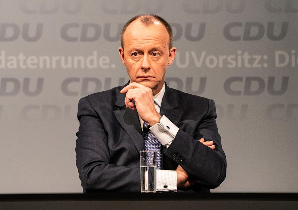 BERLIN, GERMANY - JANUARY 08: Friedrich Merz, candidate for the presidency of Germany's Christian Democratic Union attends discussion with other candidates in CDU headquarter on December 8th, 2021 in Berlin, Germany. Leading members of the German Christian Democrats (CDU) Friedrich Merz, Armin Laschet and Norbert Roettgen, who are vying for the leadership of the party, debated with one another during their second round of live-streamed debates at CDU headquarters. The party is scheduled to elect a new leader later this month. (Photo by Filip Singer - Pool/Getty Images)