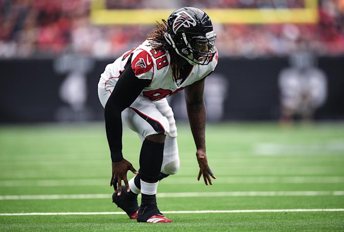 HOUSTON, TEXAS - OCTOBER 06: Takk McKinley #98 of the Atlanta Falcons in action in the fourth quarter against the Houston Texans at NRG Stadium on October 06, 2019 in Houston, Texas. (Photo by Mark Brown/Getty Images)