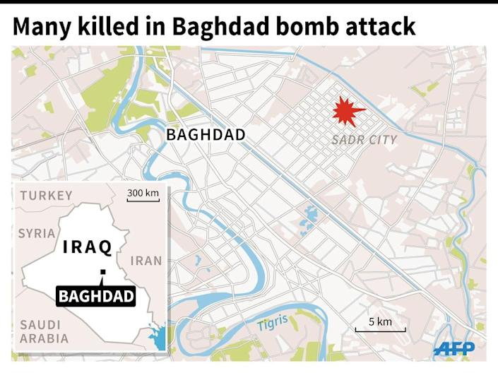 Map of the Iraqi capital Baghdad locating Sadr City, where a bomb attack in a majority Shiite neighbourhood killed many people. (AFP Photo/)