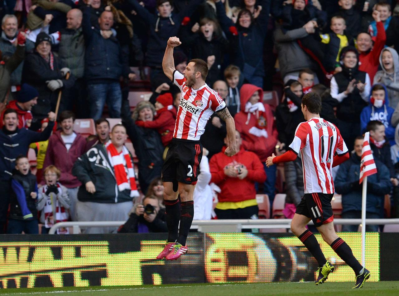 Sunderland's Bardsley celebrates scoring against Manchester City during their English Premier League soccer match in Sunderland