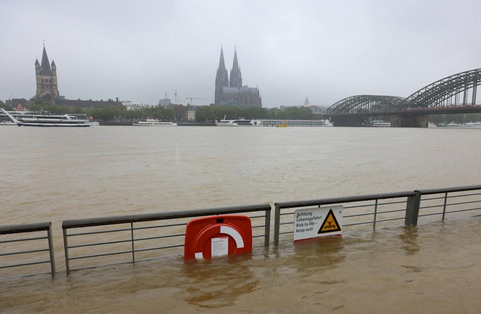 The Rheinboulevard riverside walkway was flooded by the high waters of the Rhine in Cologne, Germany, on Wednesday.
