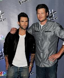 Adam Levine and Blake Shelton appear at a press junket for NBC's 'The Voice' at Sony Studios in Culver City, Calif., on October 28, 2011 -- Getty Images