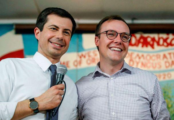 PHOTO: In this file photo taken on April 22, 2019, South Bend Mayor and Democratic presidential candidate Pete Buttigieg speaks besides husband Chasten Glezman at the West Side Democratic Club during a Dyngus Day celebration event in South Bend, Indiana. (Kamil Krzaczynski/AFP via Getty Images)