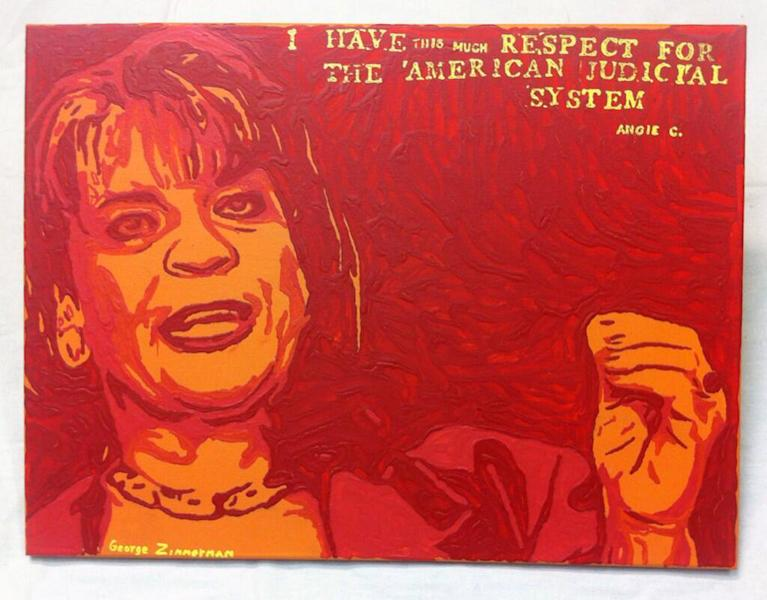 "FILE - This undated file photo shows a painting by George Zimmerman, portraying Florida State Attorney Angela Corey, the special prosecutor who charged him with second-degree murder in the 2012 shooting death of 17-year-old Trayvon Martin. Zimmerman's brother, Robert Zimmerman Jr., posted a photo of the painting, titled ""Angie"", on Twitter on Wednesday, Jan. 22, 2014. He said details about its sale would follow Thursday. The Associated Press has demanded that they halt the sale of the painting because the news agency says it directly copies an AP photo taken by freelance photographer Rick Wilson on April 11, 2012. (AP Photo)"