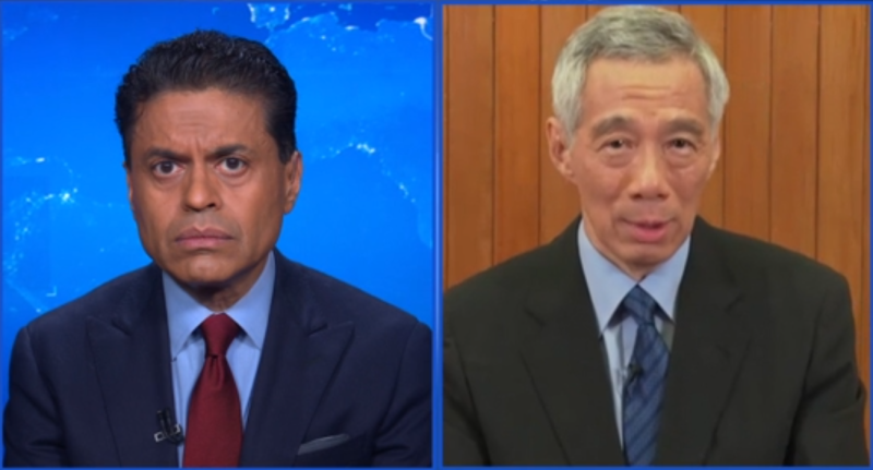 CNN's Fareed Zakaria interviews Singapore Prime Minister Lee Hsien Loong via videoconference, on Sunday, 29 March 2020. SCREENCAP: CNN's Fareed Zakaria