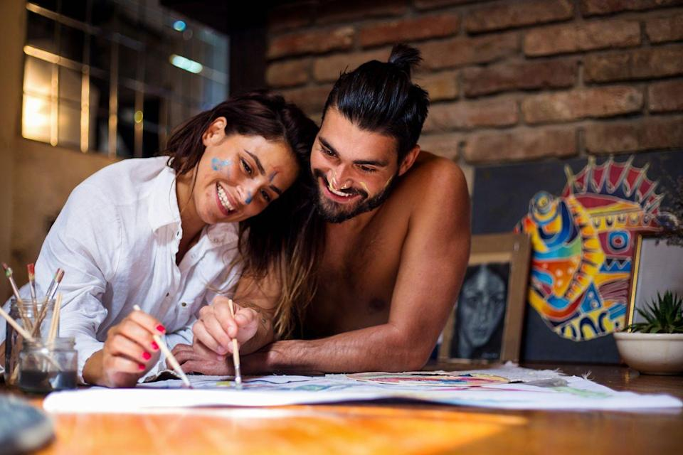 <p>Hit up the art supply store for paper, paint, brushes, or whatever speaks to your inner Picasso. If you need ideas for what to paint or draw, how about a portrait session with each other?</p>