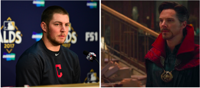 Let's face it, if an MLB player is going to start talking about other worlds, it's going to be Trevor Bauer. (Photos via AP and Marvel)