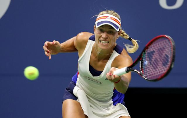 <p>Angelique Kerber of Germany returns a shot to Naomi Osaka of Japan on Day Two of the 2017 US Open at the USTA Billie Jean King National Tennis Center on August 29, 2017 in the Flushing neighborhood of the Queens borough of New York City. (Photo by Abbie Parr/Getty Images) </p>