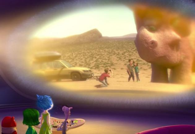 <p>In every Pixar film since 'Monsters, Inc.' there's a nod to their next project and 'Inside Out' is no exception. When Joy and the rest of the emotion gang remember a family vacation, they see dinosaur statues on the side of the road that look just like characters from 'The Good Dinosaur'.<br></p>