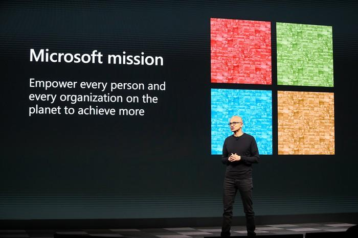A picture of Microsoft CEO Satya Nadella presenting Microsoft's mission, which is described on a screen behind him alongside the Microsoft logo.