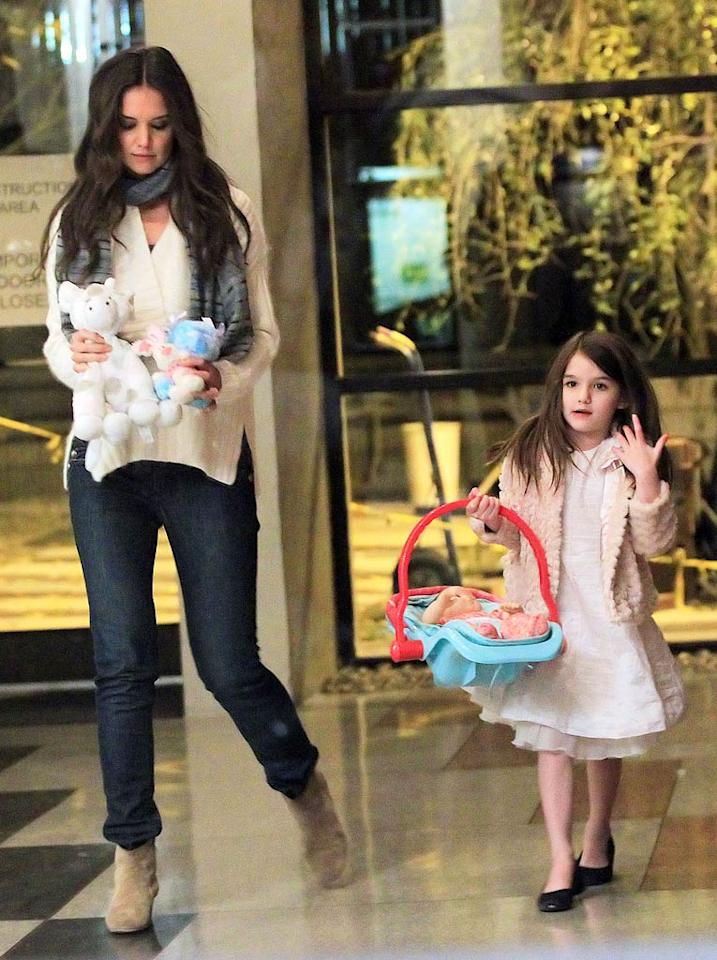 """Tom Cruise and Katie Holmes are going """"overboard"""" to make sure their daughter's Christmas is """"magical,"""" reveals <i>In Touch</i>, which notes the celebrity couple is """"buying absolutely everything"""" Suri's asked for, including a $100,000 pony and diamond earrings. But that's not even the half of it. For all the ridiculously expensive gifts coming Suri's way, click over to <a target=""""_blank"""" href=""""http://www.gossipcop.com/suri-cruise-pony-christmas-gifts-presents-diamonds-dresses/"""">Gossip Cop</a>."""