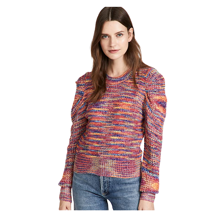 """Add a pop of color to your closet with this multi-colored knit. The rainbow-themed scheme makes it unexpected for fall, but who says you have to follow rules anyway? And puffed sleeves <em>and</em> a sweater is just *<em>chef's kiss*</em>. $75, Amazon. <a href=""""https://www.amazon.com/En-Saison-Womens-Sweater-Fuchsia/dp/B09D6CCZQL"""" rel=""""nofollow noopener"""" target=""""_blank"""" data-ylk=""""slk:Get it now!"""" class=""""link rapid-noclick-resp"""">Get it now!</a>"""