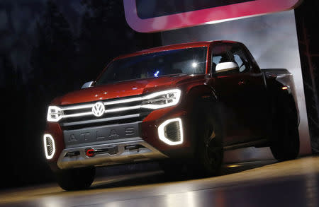 The 2019 Volkswagen Atlas pickup truck is presented at the New York Auto Show in the Manhattan borough of New York City, New York, U.S., March 28, 2018. REUTERS/Shannon Stapleton