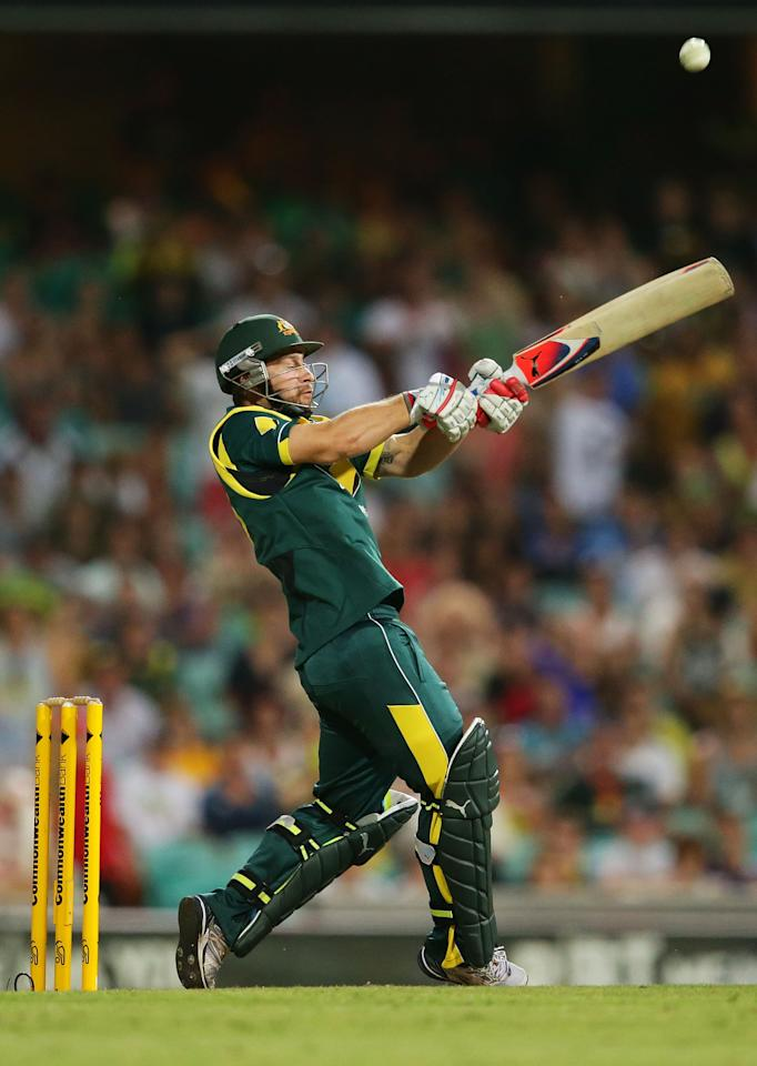 SYDNEY, AUSTRALIA - FEBRUARY 08:  Matthew Wade of Australia hits a six off a free hit during game four of the Commonwealth Bank One Day International Series between Australia and the West Indies at Sydney Cricket Ground on February 8, 2013 in Sydney, Australia.  (Photo by Matt King/Getty Images)