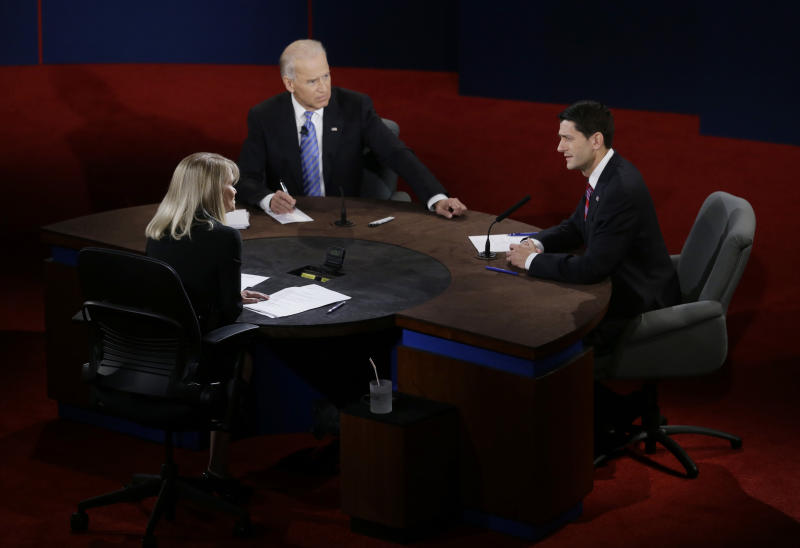 Vice President Joe Biden and Republican vice presidential nominee Rep. Paul Ryan of Wisconsin participate in the vice presidential debate at Centre College, Thursday, Oct. 11, 2012, in Danville, Ky. (AP Photo/Mark Humphrey)