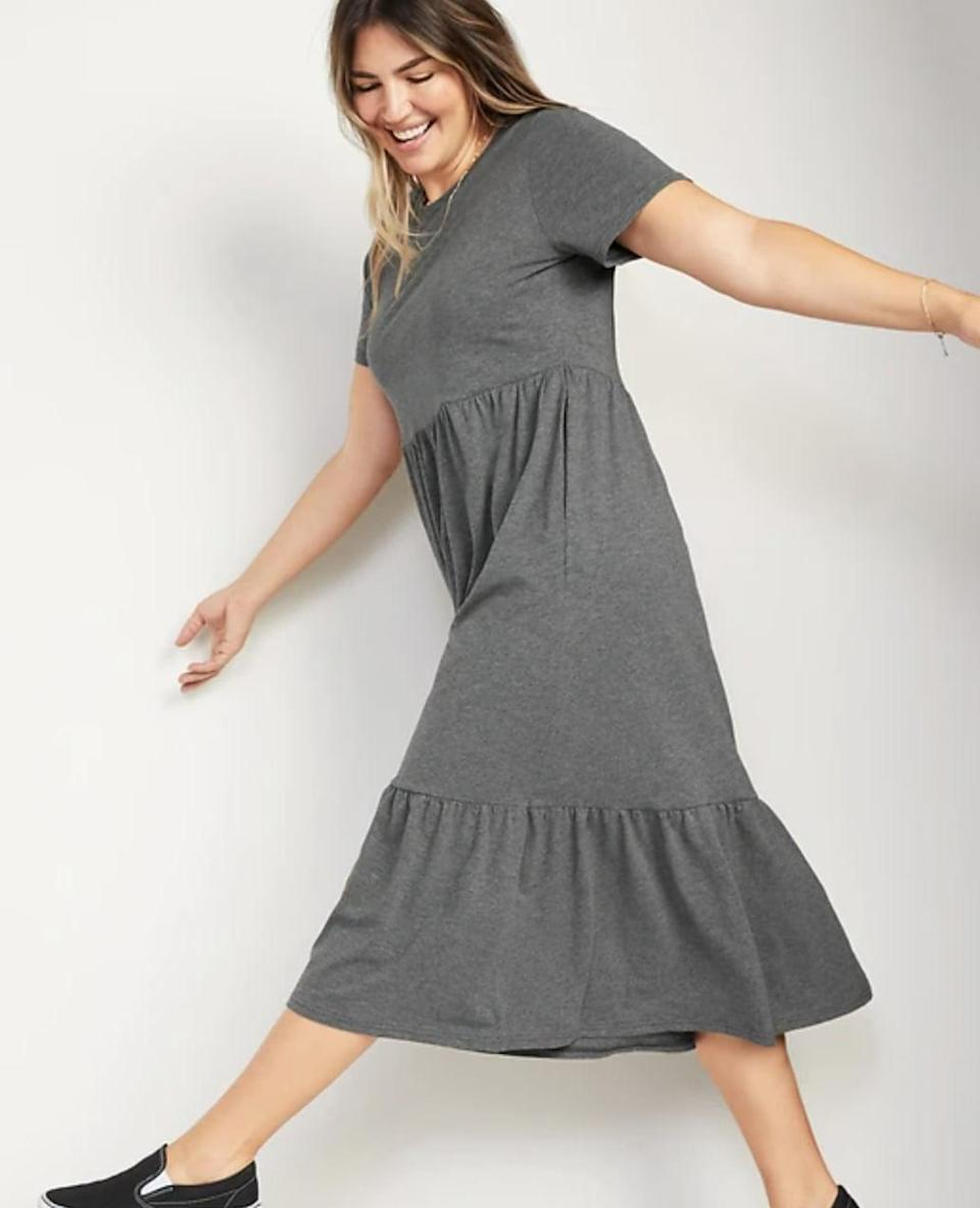 <p>This comfy <span>Old Navy Fit and Flare Short-Sleeve Tiered Midi Dress</span> ($40) also <span>comes in black</span>, so you can add some variety to a work-from-home wardrobe. Don't be surprised if you never want to take it off.</p>