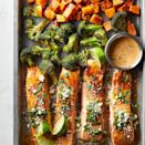 <p>The vibrant combo of cheese, cilantro, chili, and lime--inspired by Mexican street corn--makes this salmon sheet-pan dinner burst with flavor.</p>