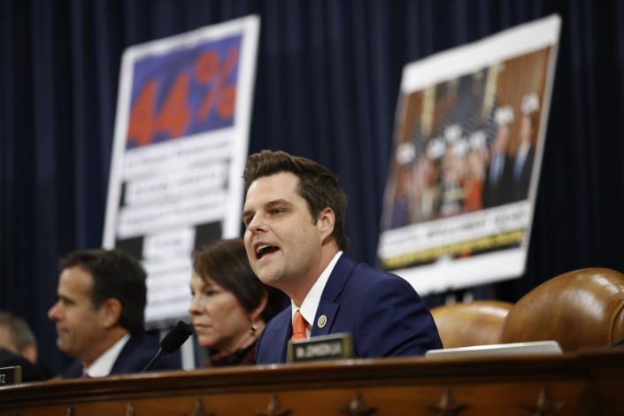 FILE - In this Dec. 11, 2019, file photo Rep. Matt Gaetz, R-Fla., gives his opening statement during a House Judiciary Committee markup of the articles of impeachment against President Donald Trump on Capitol Hill in Washington. (AP Photo/Patrick Semansky, File)