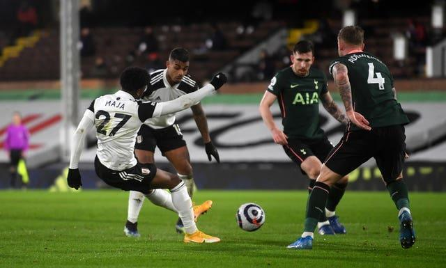 Fulham's Josh Maja (left) saw his goal against Tottenham ruled out