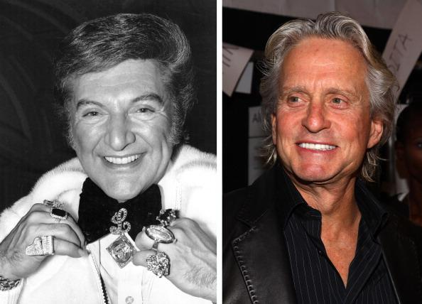 (FILE PHOTO) In this composite image a comparison has been made between pianist Liberace (L) and actor Michael Douglas. Michael Douglas will reportedly play American pianist Liberace in an HBO film biopic entitled 'Behind the Candelabra' directed by Steven Soderbergh. ***LEFT IMAGE*** circa 1980:  Flamboyant American pianist Liberace (1919 - 1987) displays his wealth of jewellery as he sweeps into London Airport. The combined value of his rings is 110,000, he wears a gold and diamond watch, worth about 14,000, and a diamond 'L' brooch, nearly all of which were presents to him from admirers.  (Photo by David Ashdown/Keystone/Getty Images) ***RIGHT IMAGE*** NEW YORK - SEPTEMBER 16:  Actor Michael Douglas attends the Michael Kors Spring 2010 fashion show at the tent at Bryant Park on September 16, 2009 in New York, New York.  (Photo by Astrid Stawiarz/Getty Images for IMG)