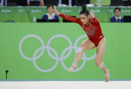 2016 Rio Olympics - Artistic Gymnastics - Final - Women's Individual All-Around Final - Rio Olympic Arena - Rio de Janeiro, Brazil - 11/08/2016. Alexandra Raisman (USA) of USA (Aly Raisman) competes on the floor during the women's individual all-around final. REUTERS/Mike Blake