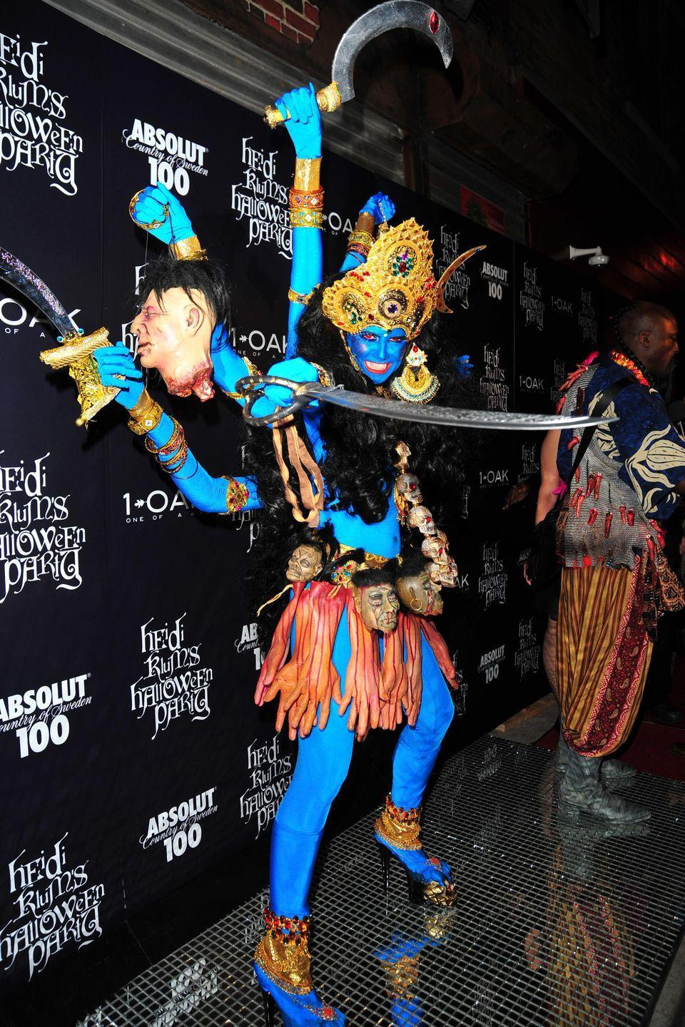 <p>She took a cultural shift in 2008 when she dressed as Kali, the Hindu goddess of death and time. This blue, multi-armed costume was a showstopper (and still is TBH).</p>