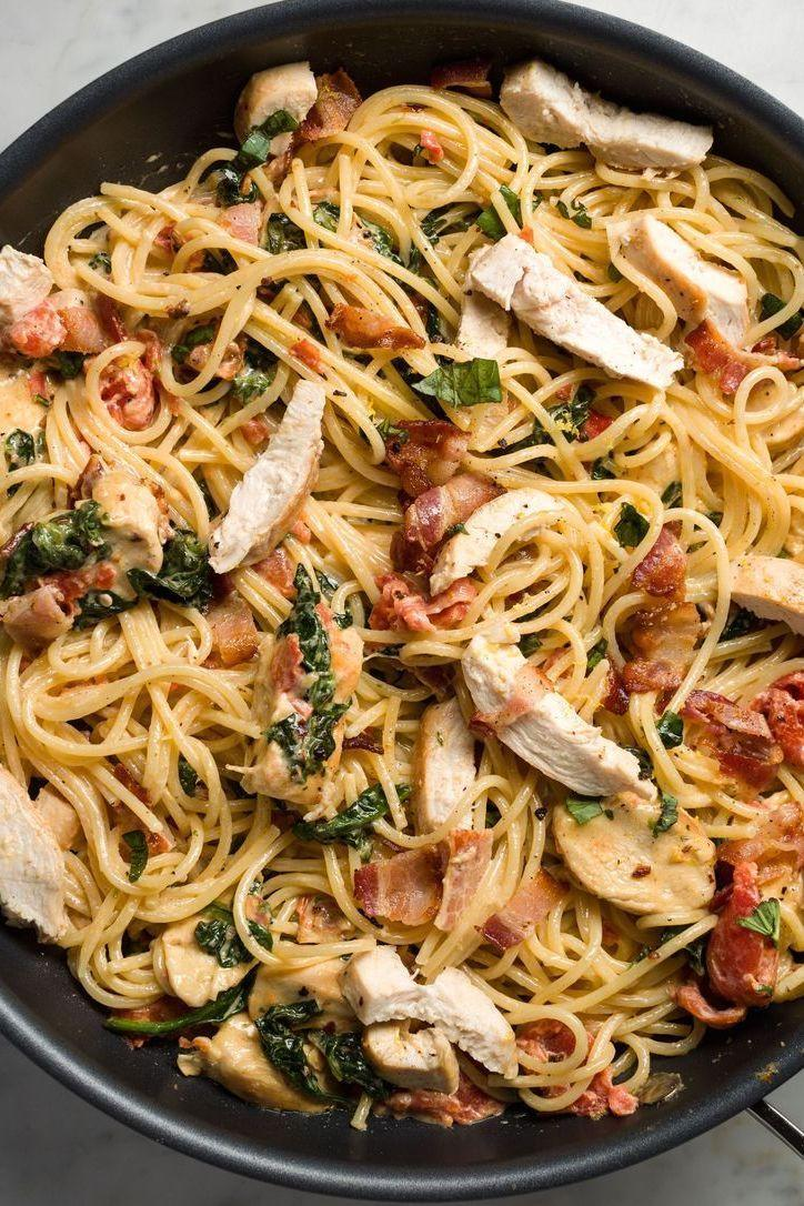 """<p>Loaded with sautéed chicken breasts and crispy bacon, this hearty spaghetti recipe will please even the pickiest eaters. Feel free to use either spaghetti or angel hair (as in the video). </p><p>Get the <a href=""""https://www.delish.com/uk/cooking/recipes/a28909207/chicken-bacon-and-spinach-spaghetti-recipe/"""" rel=""""nofollow noopener"""" target=""""_blank"""" data-ylk=""""slk:Tuscan Chicken Pasta"""" class=""""link rapid-noclick-resp"""">Tuscan Chicken Pasta</a> recipe.</p>"""
