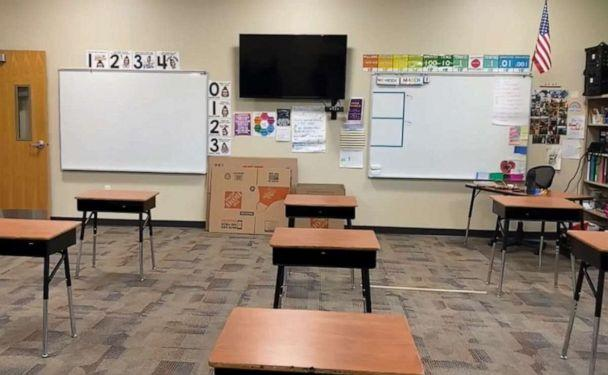 PHOTO: Katie O'Connor, a teacher in Colorado Springs, Colorado, posted footage of her putting together a COVID-19-compliant classroom to Facebook, where it garnered over 4 million views. (Katie O'Connor)