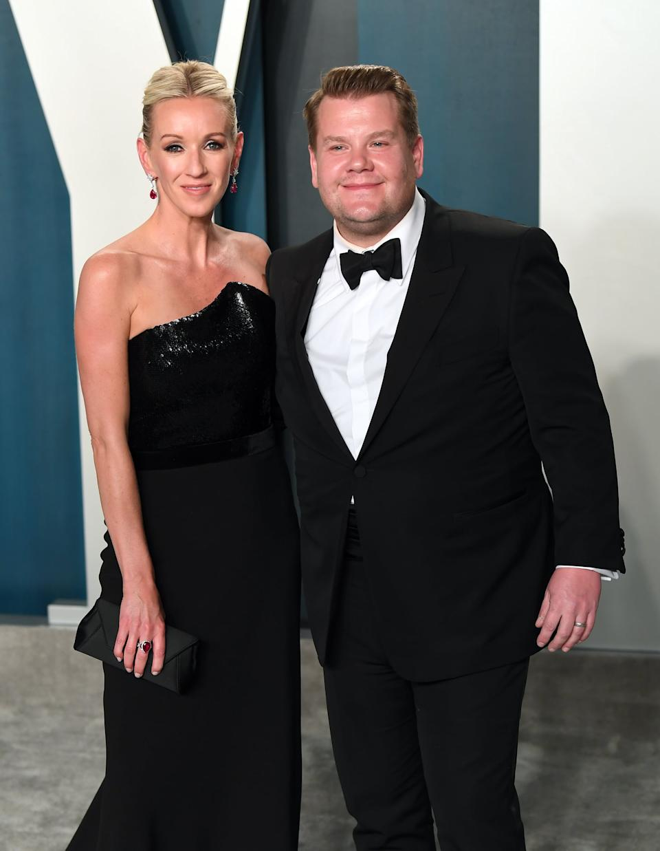 BEVERLY HILLS, CALIFORNIA - FEBRUARY 09: Julia Carey and James Corden attend the 2020 Vanity Fair Oscar Party hosted by Radhika Jones at Wallis Annenberg Center for the Performing Arts on February 09, 2020 in Beverly Hills, California. (Photo by Karwai Tang/Getty Images)