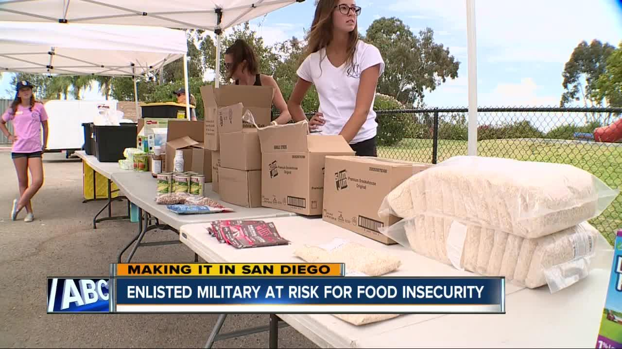 Enlisted military are at risk for food insecurity.