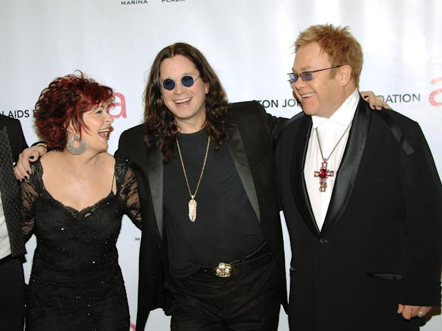 """From left, Sharon Osbourne, Ozzy Osbourne and singer Elton John arrive at the Elton John AIDS Foundation's sixth annual benefit """"An Enduring Vision"""" at The Waldorf-Astoria Hotel, Tuesday, Sept. 25, 2007 in New York. (AP Photo/Evan Agostini)"""