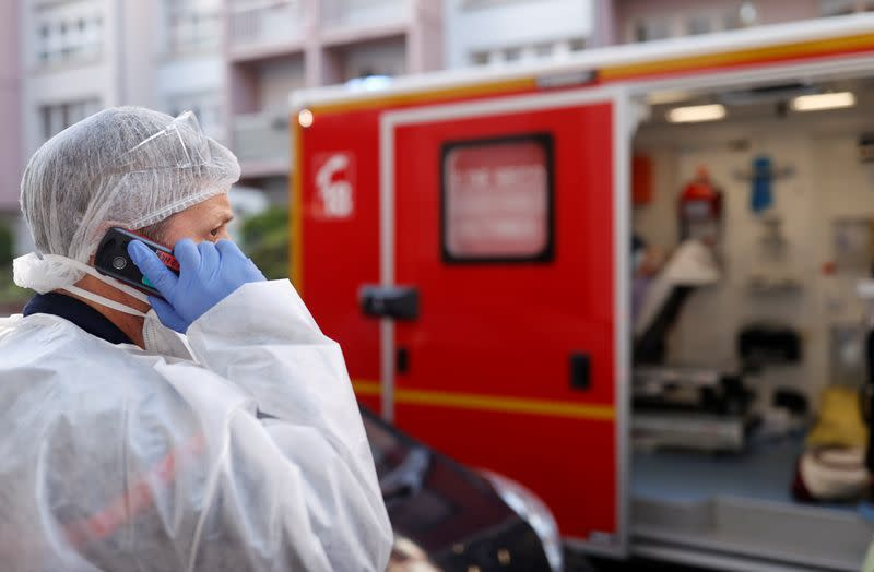 Rescue operation of people infected with coronavirus disease (COVID-19) in Strasbourg