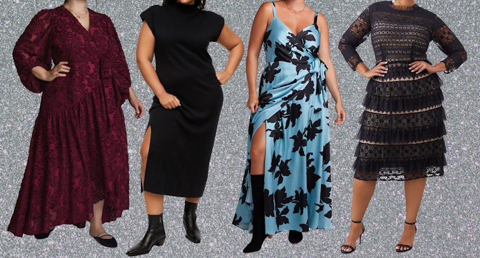 plus size models posing in red, black, blue, lace, and floral plus size wedding guest dresses