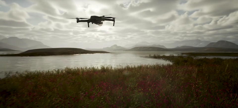 Photography Simulator -- a drone flies over a lake