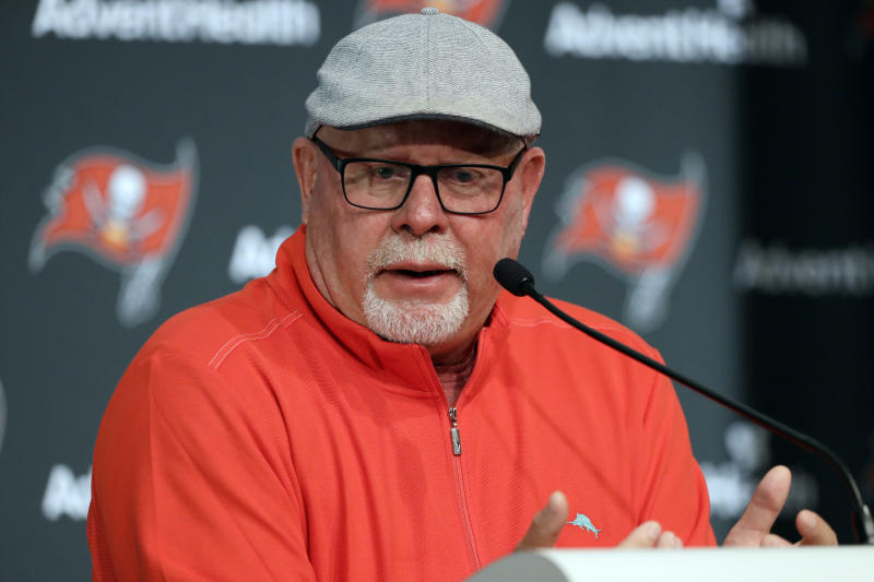 "FILE - In this Dec. 30, 2019, file photo, Tampa Bay Buccaneers head coach Bruce Arians speaks during an end of season NFL football news conference in Tampa, Fla. Arians didn't give much thought to the prospect of opting out of trying to help Tom Brady win a Super Bowl with the Tampa Bay Buccaneers. The 67-year-old whose aggressive offensive philosophy is dubbed ""no risk it, no biscuit"" is one of the oldest head coaches in the NFL, as well as a cancer survivor who once retired because of health concerns. (AP Photo/Chris O'Meara, File)"