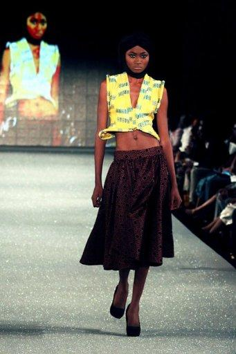 A model is seen presenting clothes from The Collection of Loza Maleombho at The Arise Magazine Fashion Week at Victoria Island in Lagos, last month. More than 70 designers lined up for Lagos fashion week, including some from outside of Africa