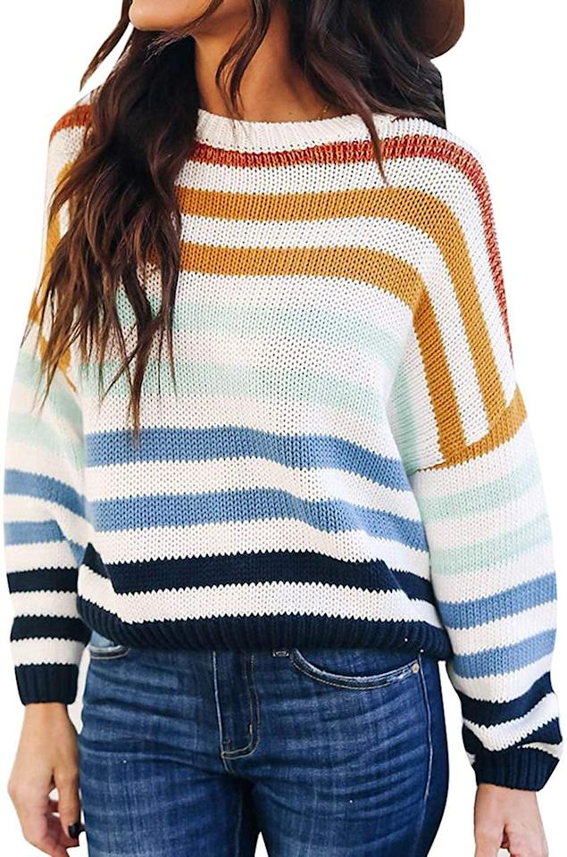 "<p>We're seeing this adorable <a href=""https://www.popsugar.com/buy/Zesica-Striped-Pullover-Sweater-511983?p_name=Zesica%20Striped%20Pullover%20Sweater&retailer=amazon.com&pid=511983&price=20&evar1=fab%3Auk&evar9=47089790&evar98=https%3A%2F%2Fwww.popsugar.com%2Ffashion%2Fphoto-gallery%2F47089790%2Fimage%2F47090471%2FZesica-Striped-Pullover-Sweater&list1=shopping%2Camazon%2Cwinter%20fashion&prop13=api&pdata=1"" rel=""nofollow"" data-shoppable-link=""1"" target=""_blank"" class=""ga-track"" data-ga-category=""Related"" data-ga-label=""https://www.amazon.com/ZESICA-Striped-Knitted-Pullover-Sweater/dp/B07VJMY8Y6/ref=tsm_1_ig_s_fshn_clorainbowsweater10302019?utm_campaign=likeshopme&amp;utm_medium=instagram&amp;utm_source=dash%2Bhudson&amp;utm_content=www.instagram.com%2Fp%2FB4QkBSxBD14%2F&amp;th=1&amp;psc=1"" data-ga-action=""In-Line Links"">Zesica Striped Pullover Sweater</a> ($20, originally $26) all over Instagram.</p>"