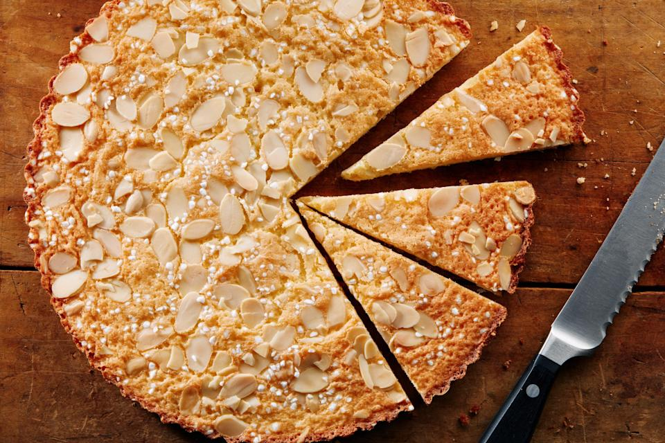 """Even in its simplicity, there's something about this buttery almond cake that just feels special. Baking it in a pie dish allows for you to serve it straight out of the vessel, whether for breakfast or a mid-afternoon snack, accompanied by nothing but a steaming cup of coffee or tea. <a href=""""https://www.epicurious.com/recipes/food/views/sunshine-cake?mbid=synd_yahoo_rss"""" rel=""""nofollow noopener"""" target=""""_blank"""" data-ylk=""""slk:See recipe."""" class=""""link rapid-noclick-resp"""">See recipe.</a>"""