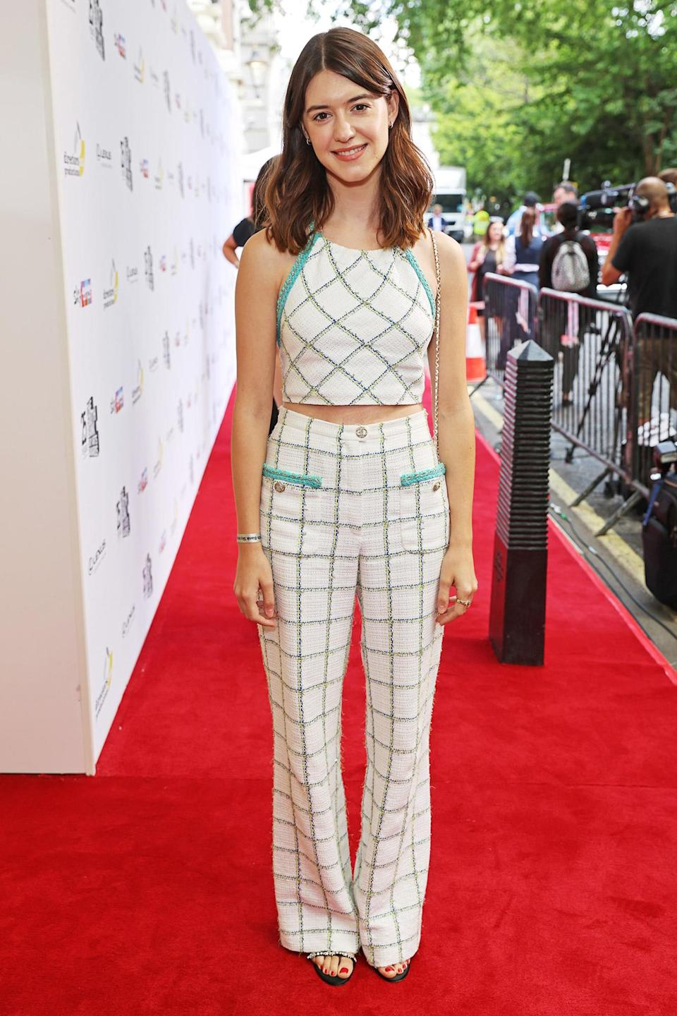 <p>Daisy Edgar-Jones wears a patterned two-piece set at the South Bank Sky Arts awards at The Savoy Hotel in London on July 19. </p>