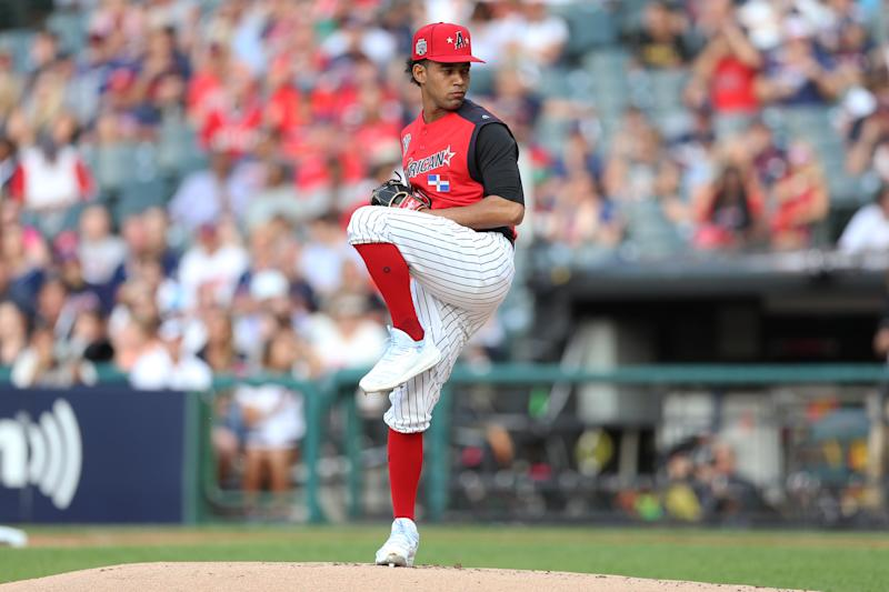 CLEVELAND, OH - JULY 07: Deivi Garcia #64 of the American League Futures Team pitches during the SiriusXM All-Star Futures Game at Progressive Field on Sunday, July 7, 2019 in Cleveland, Ohio. (Photo by Rob Tringali/MLB Photos via Getty Images)