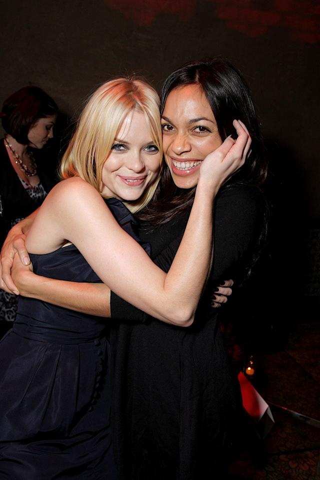 """The Spirit"" costars Jaime King and Rosario Dawson share a sisterly embrace. Eric Charbonneau/<a href=""http://www.wireimage.com"" target=""new"">WireImage.com</a> - December 17, 2008"