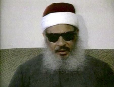 Still image from file video footage of Egyptian Omar Abdel-Rahman speaking during a news conference