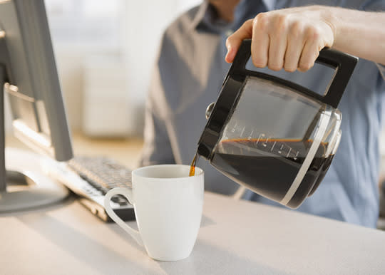 "<p><b>Coffee Pot</b></p><p>If you spend your morning commute looking forward to that first cup of office-brewed joe, you may want to reconsider. <a href=""https://uanews.arizona.edu/story/germs-spread-fast-at-work-study-finds"">University of Arizona research</a> found coffee pot handles in the break room to be one of the germiest areas in the office. It only took four hours for cold, flu and stomach viruses to spread from one infected person to a few germ ""hot spots,"" including the coffee maker. Your best defense? Hand washing and antibacterial wipes.</p>"