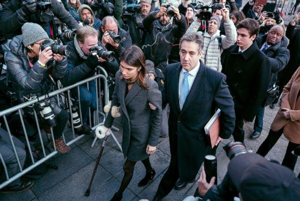 PHOTO: Michael Cohen, center, President Donald Trump's former lawyer, accompanied by his children Samantha, left, and Jake, right, arrives at federal court for his sentencing in New York, Dec. 12, 2018. (Craig Ruttle/AP)