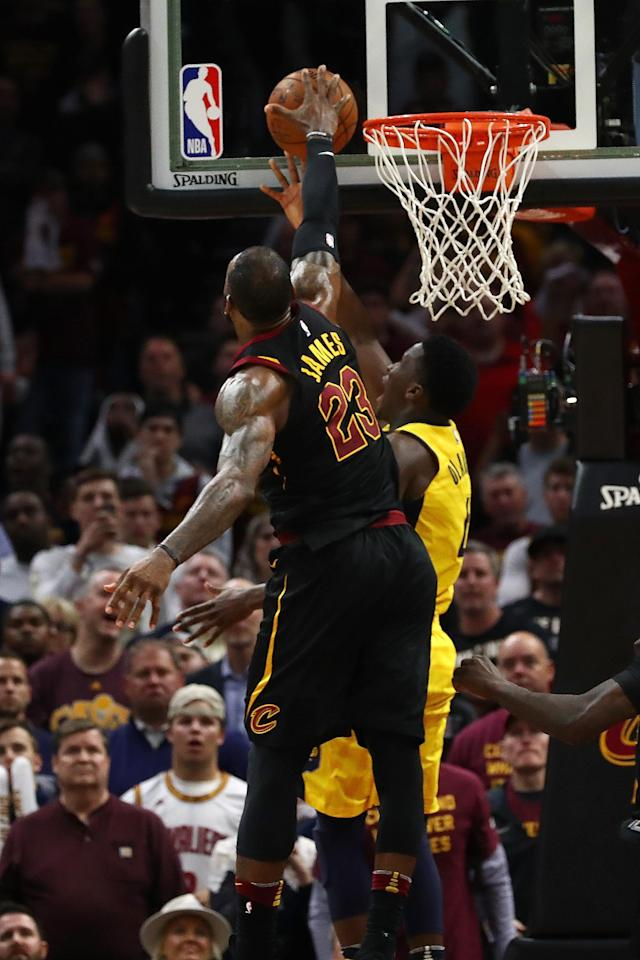 CLEVELAND, OH - APRIL 25: LeBron James #23 of the Cleveland Cavaliers blocks the shot of Victor Oladipo #4 of the Indiana Pacers late Game Five of the Eastern Conference Quarterfinals during the 2018 NBA Playoffs at Quicken Loans Arena on April 25, 2018 in Cleveland, Ohio. (Photo by Gregory Shamus/Getty Images)