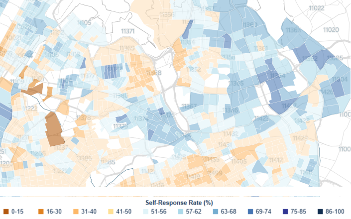 A map of 2020 U.S. Census self-response rates in Queens. (U.S. Census Bureau)