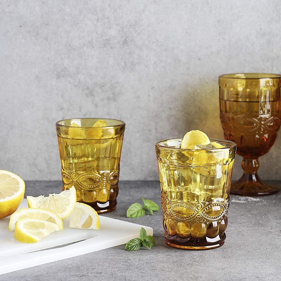 <p>I love the glossy look of these <span>Whole Housewares Colored Water Glasses</span> ($25).</p>