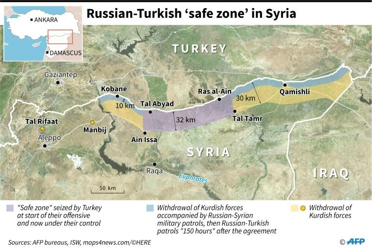 "Map locating the Turkish ""safe zone"" in northeastern Syria as agreed by Russia and Turkey, in which Kurdish forces withdraw before deployment of Russian and Syrian military patrols then Russian and Turkish. (AFP Photo/)"