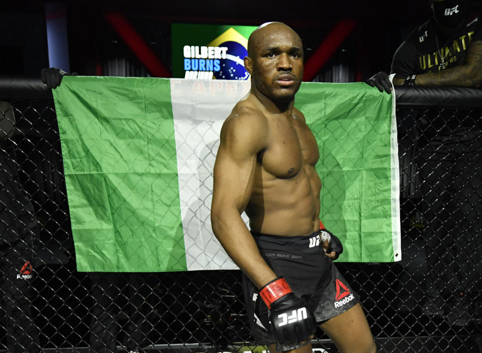 LAS VEGAS, NEVADA - FEBRUARY 13: Kamaru Usman of Nigeria prepares to fight Gilbert Burns of Brazil in their UFC welterweight championship fight during the UFC 258 event at UFC APEX on February 13, 2021 in Las Vegas, Nevada. (Photo by Jeff Bottari/Zuffa LLC)